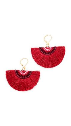 Fanned fringe bring eclectic style to these embroidered Shashi earrings. 18k gold vermeil lever-back closure.