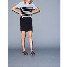 SS BRETON STRIPE DRESS W SHIRTING