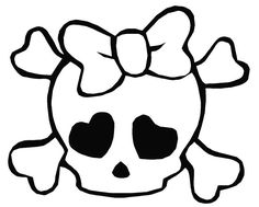 Skull And Bones Coloring Pages Skull Coloring Pages, Easy Coloring Pages, Coloring Pages For Girls, Printable Coloring Pages, Cartoon Coloring Pages, Skull Stencil, Skull Art, Skull Tattoos, Girl Tattoos