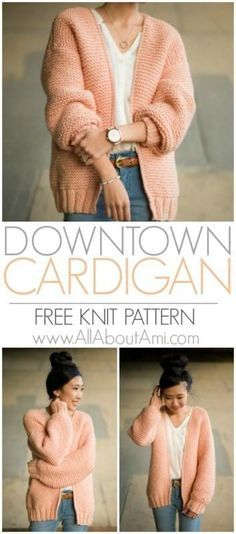 Knit this gorgeous chunky cardigan using bulky yarn and the relaxing garter stit., Knit this gorgeous chunky cardigan using bulky yarn and the relaxing garter stitch! This statement cardigan works up very quickly and is perfect for b. Knitting Stitches, Baby Knitting, Knitting Machine, Loom Knitting, Vintage Knitting, Knitting And Crocheting, Vintage Sewing, Knitting Paterns, Knitting Needles