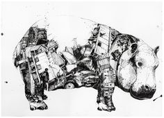 one image from Chaos und Ordnung by Simon Prades. Ink on paper, each 50 x 70 cm, 2010. Images of daily newspapers have been collected and arranged in large ink drawings, filling shapes of three animals with disasters of the human race.