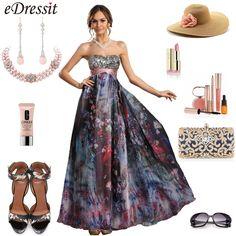 Strapless printed evening dress holiday dress #fashion dress #strapless
