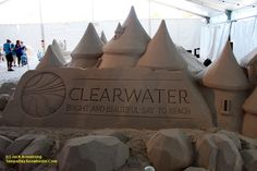 "Sand sculpture at the Pier 60 ""Sugar Sand Festival"" in Clearwater Beach,  Florida. From Jack Armstrong and tampabaysnowbirder.com Fun Places To Go, Things To Do, Tampa Bay Area, Sand Sculptures, Clearwater Beach, Destin Beach, Florida Beaches, Sugar, Invitations"