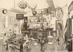 Another drawing by Charles Avery, I am amazed at how he manages to capture such life like drawings from memory. Fine Art Drawing, Drawing Style, Ink Pen Drawings, Album, Landscape Illustration, Best Artist, Drawing People, Artist At Work, Art Museum
