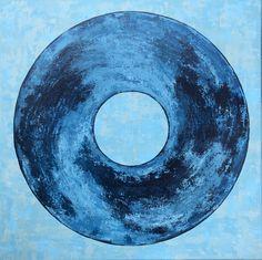 Blue sphere        980€ 60/60 cm De la profondeur des abîmes jusqu'au cosmos, son contraste envoutera son observateur Cosmos, Blue, Acrylic Paintings, Toile, Space, Outer Space