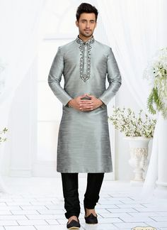 Grey Dhupion Embroidered Work Wedding Wear Churidar Kurta Pajama