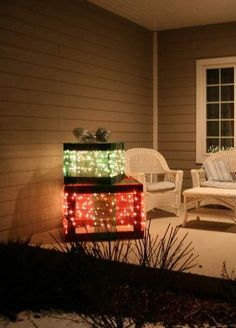 outdoor holiday lighted gift boxes