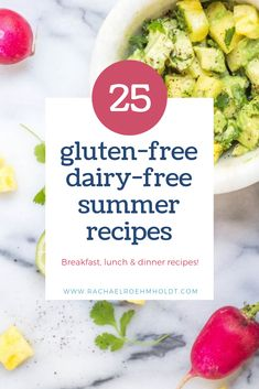 25 gluten-free dairy-free summer recipes, including breakfast, lunch, dinner, snacks, and drink recipes. Including salads, spring rolls, chicken, turkey burgers, dairy-free fudgesicles, agua fresca, sparkling raspberry lemonade - and much more! Healthy, easy, quick, warm weather, and quick ideas!