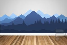 Mountain Wall Decal / Forest Mural / Nursery Wall Decor / Removable Wall Mural / Bedroom Mural / Kids Murals / Nursery Wall Art - Home Wall Murals Bedroom, Kids Room Murals, Nursery Wall Decals, Nursery Decor, Kids Rooms, Decals For Walls, Nursery Murals, Childrens Wall Murals, Nursery Room