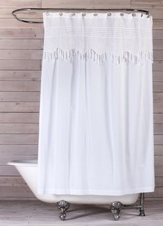 Vintage Crochet Cotton Shower Curtain