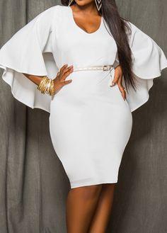 V Neck Cloak Design White Dress