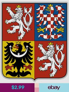 Coat of arms of the Czech Republic. The coat of arms of the Czech Republic displays the three historical regions—the Czech lands—which make up the nation. The current coat of arms, which was adopted in was designed by Czech heraldist Jiří Louda. Prague, Templer, Car Bumper Stickers, Window Stickers, Family Crest, Central Europe, Crests, Coat Of Arms, Czech Republic