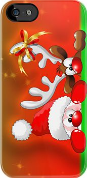 ☆SOLD on #Redbubble!☆  #Funny #Christmas #Santa and #Reindeer #Cartoon #iPhone #Case!  http://www.redbubble.com/people/bluedarkart/works/10917925-funny-christmas-santa-and-reindeer-cartoon?p=iphone-case