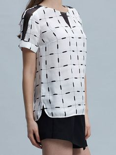 black and white geometric pattern top with mesh panels