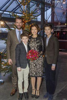 La comtesse Alexandra de Frederiksborg, ses fils les princes Felix et Nikolai de Danemark, et son mari en secondes noces Martin Jorgensen, l...