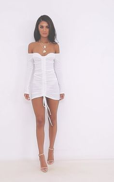 The White Ribbed Bardot Ruched Dress. Head online and shop this season's range of dresses at PrettyLittleThing. Mode Outfits, Night Outfits, Sexy Outfits, Sexy Dresses, Stylish Outfits, Cute Dresses, Dress Outfits, Short Dresses, Girl Outfits