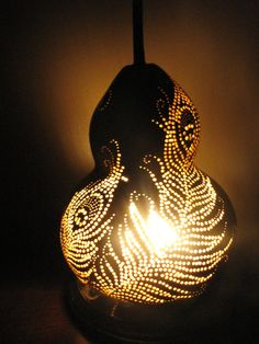 Peacock Feathers Gourd Lamp by TheGoldenGourd on Etsy, $85.00