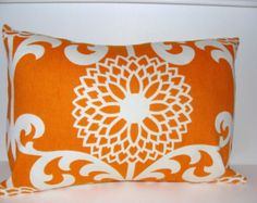 PILLOW.ORANGE PILOW.12x16 or 12x18 inch.Pillow Cover.Decorative Pillows.Housewares.Orange Floral.Flower.Waverly.Lumbar.Cushion.Home Decor