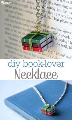 DIY book lover necklace