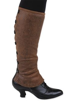 Steampunk Ladies Brown,Green Faux Leather Solid,Plaid Spats | Gothic | Pirate | LARP | Cosplay | Retro | Vampire || Ladies Reversible Gaiters - Brown Faux Antiqued Leather