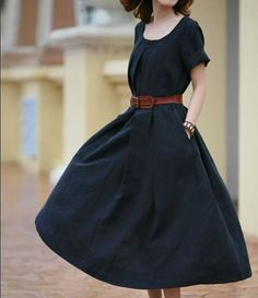 black dress with brown leather belt