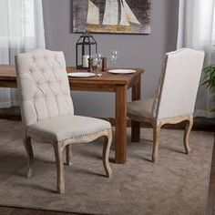 Weathered Hardwood Tufted Fabric Dining Chairs - Beige (Set of 2) - Christopher Knight Home