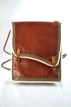 Mexican Leather Satchel Bag with Shoulder Strap. $18.00, via Etsy.