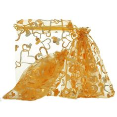 Wholesale NEW 7x9cm Organza Yellow Hearts Charms Wedding XMAS Gift Bags