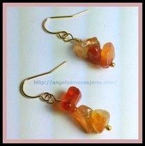 Orange earrings. Jewerly. cornalina,pendientes en cornalina,cristales de cuarzo,cuarzos,piedras de cuarzo,joyeria,joyeria cristales de cuarzo