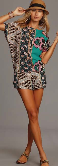 Lucy Love Backless Romper - Maldives $59.00 -- The Lucy Love Backless Romper in Maldives Print is so flirty and stylish, you'll feel like you're at a resort in the Maldives. The color is called Jaded because of the Jade Green color throughout the print. Sexy cut bottoms with elastic waistband. Backless with a tie-string at the neck. The super-soft fabric comes from India. 100% Rayon. Dry clean. Made in the USA. http://www.avaadorn.com/lucy-love-backless-romper-maldives-p-365.html