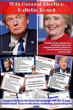 2016 General Election Bulletin Board Hillary Clinton and Donald Trump