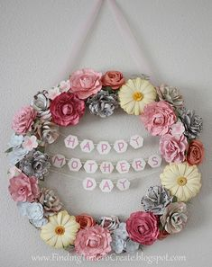 Floral Wreath with Paper Flowers http://www.findingtimetocreate.com