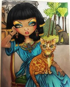 So Sanura and her crazy cat are now complete. ☺️ I definitely prefer the cat now that the background is done.... Thanks so, so much to all my colouring friends who motivated and supported me in my moment of doubt with this yesterday!! #jasminebeckettgriffith #sanura #adultcoloring #adultcolouring #bayan_boyan #arte_e_colorir #creativecalm #fabercastell #polychromos #euterpe_colorindo #carandache #pablo #posca #gellyroll #sakura #colouredpencils #colouringinforadults