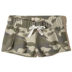 Hollister Reverse Terry Curved Hem Shorts ($20) ❤ liked on Polyvore featuring shorts, camo, hollister co. shorts, camoflauge shorts, camo print shorts, camouflage shorts and terry cloth shorts