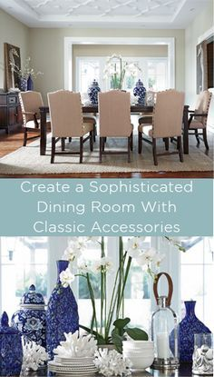 Blues and white accessories and classic flowers make a timeless tables cape in your dining room.