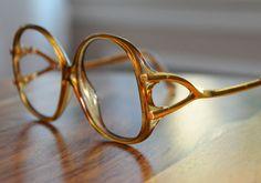 Vintage Amber Drop Arm 1980s Round Eyeglasses NOS Playboy Made