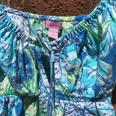 1f56029e585cd Lilly Pulitzer Blue Floral Spaghetti Strap Mini Dress