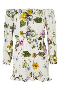**Floral Print Bardot Playsuit by Glamorous