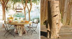 Garten Tisch Baumstamm selber machen