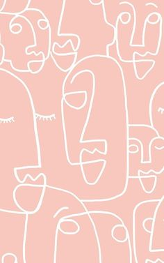 Large Dusty Pink Face Drawing Wallpaper Mural - Murals Wallpaper