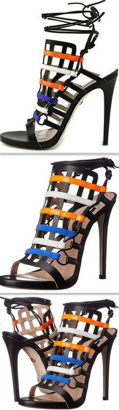 'Beyond' Cage Leather Slingback Heel Gladiator Sandals