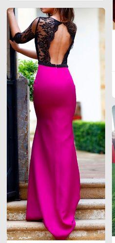 Chic Hot pink & lace back open dress, stylish closet,prom dress, pageant dress Lace Dresses, Elegant Dresses, Pretty Dresses, Prom Dresses, Formal Dresses, Dress Prom, Dress Lace, Party Dress, Wedding Dresses