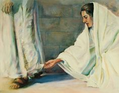 "Women of the Holy Bible, ""Great faith = she believed she only had to touch the hem of His garment. Jesus Christ felt her touch and healed her sickness. Pictures Of Christ, Religious Pictures, Bible Pictures, Religious Art, Lds Art, Bible Art, Christian Artwork, Jesus Painting, Jesus Art"