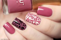 Could use any stamp and color combo Love Nails, Pink Nails, Pretty Nails, My Nails, Cute Spring Nails, Watermelon Nails, Cute Nail Art Designs, Gelish Nails, Stamping Nail Art