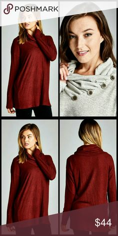 Burgundy Neck Button Top Coming Soon   Solid, long sleeve, turtle neck, button detail tunic top.   Made in USA   96% Polyester 4% Spandex Tops Tees - Long Sleeve