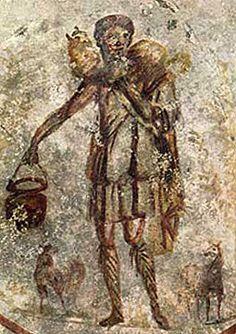 Arte Paleocristriano, Catacumbas de San Calixto, Via Appia Antica, mitad del siglo II, Roma. Solo en ocasiones el Salvador junta las cuatro patas sobre su pecho como el Moscóforo.