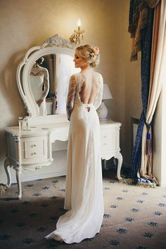 A-line Lace Wedding Dress with Open Back  by ACreativeAtelier