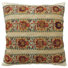 Turkish Embroidery Pillow | From a unique collection of antique and modern pillows and throws at https://www.1stdibs.com/furniture/more-furniture-collectibles/pillows-throws/