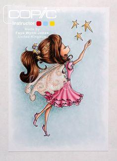 Copic Marker Europe: Smooshy Backgrounds.Fairy Fae. Background: BG70, BG72 Skin/ Wings: YR000, YR00, E11, E04 Stars: YR30, Y23, YR31, Y35 Dress/ Shoes: RV10, R81, R83, R85