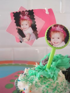 Photo Flags are the perfect finishing touch for cupcakes at Baby's First Birthday! Check out how we did it at http://www.youcanplanaparty.com/planning/food-a-beverage/106-food-a-beverage-milestone-birthday-party.html